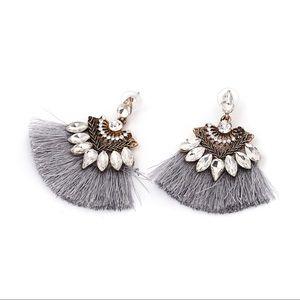 """""""Riley"""" Silver Fringe Drop Earrings"""